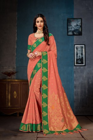 Peach Cotton Linen Saree with Blouse