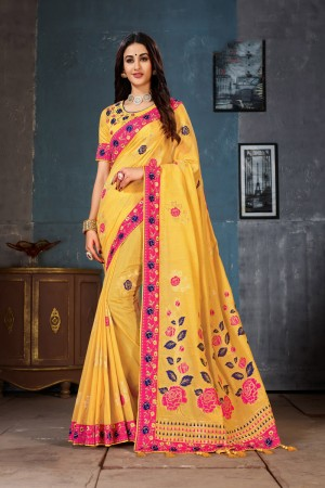 Yellow Cotton Linen Saree with Blouse
