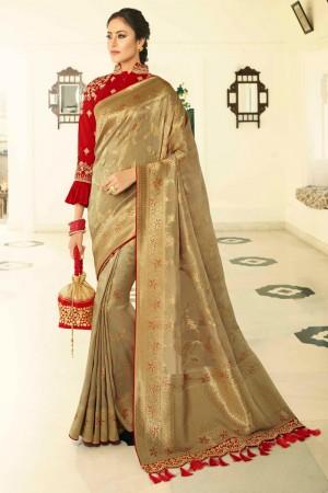 Golden Silk Saree with Blouse