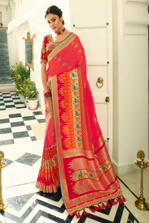 Coral Silk Saree with Blouse
