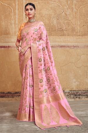 Light Pink Silk Saree with Blouse