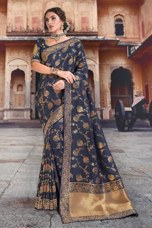 Navy Blue Silk Saree with Blouse