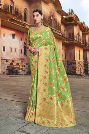Pista Silk Saree with Blouse