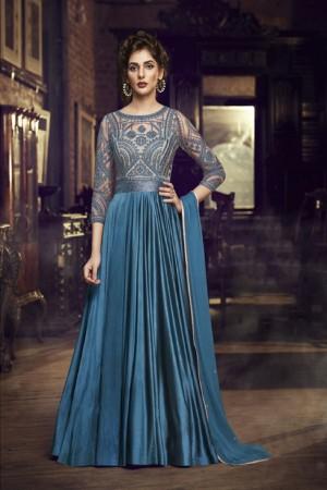 Blue Modal Satin Gown