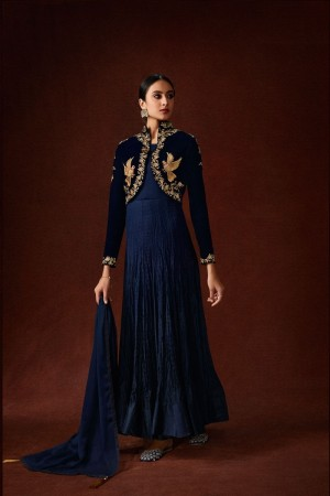Blue Satin Georgette & Velvet Gown