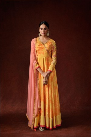 Yellow Silk Crepe Gown
