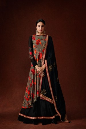 Mehendi & Black Silk Crepe & Georgette Gown