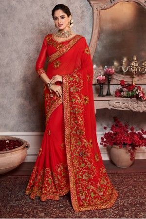 Red Dola Silk Saree with Blouse