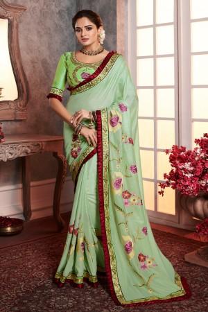 Pista Dola Silk Saree with Blouse