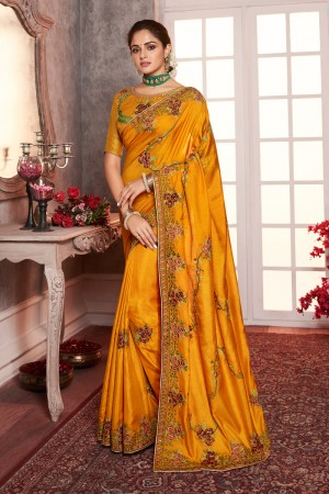 Mustard Dola Silk Saree with Blouse
