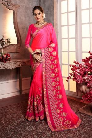 Pink Rangoli Silk Saree with Blouse