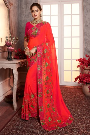 Tomato Zany Silk Saree with Blouse