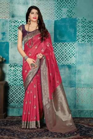 Cerise Banarasi Silk Saree with Blouse