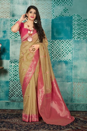 Gold Banarasi Silk Saree with Blouse