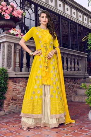 Yellow Satin(Jacket) Salwar Kameez