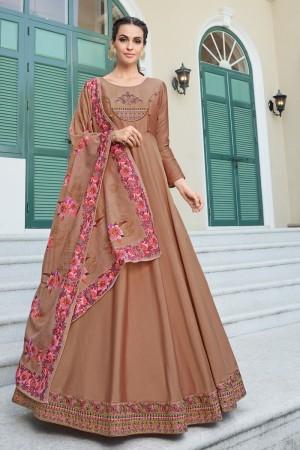 Light Brown Heavy Soft Silk Salwar Kameez