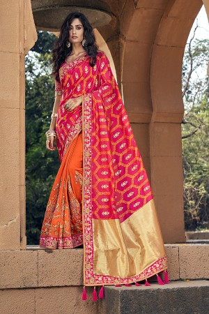 Orange & Pink Banarasi Silk Saree with Blouse
