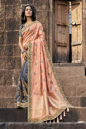 Light Orange & Grey Banarasi Silk Saree with Blouse