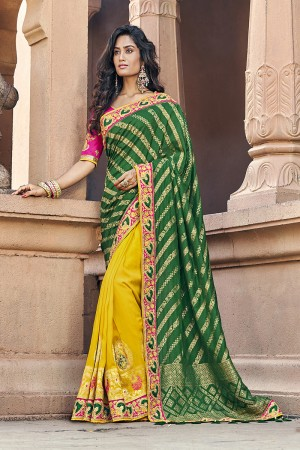 Green & Yellow Banarasi Silk Saree with Blouse