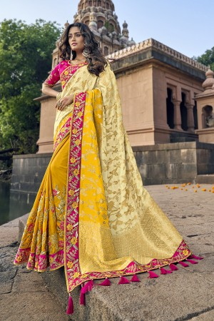 Off white & Yellow Banarasi Silk Saree with Blouse