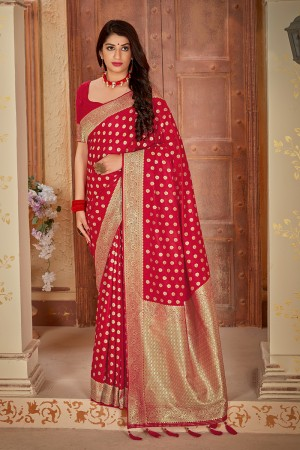 Red Banarasi Satin Saree with Blouse