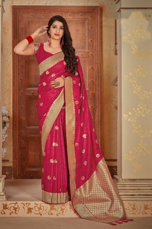 Magenta Banarasi Satin Saree with Blouse