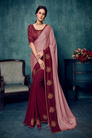 Maroon & Pink Vichitra Silk Saree with Blouse