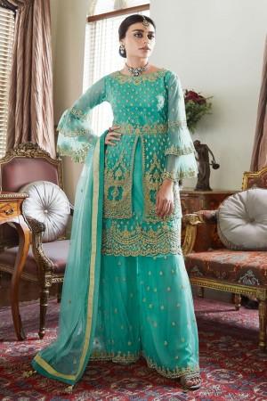 Turquoise Butterfly Net Salwar Kameez