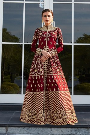 Maroon Mulberry silk Salwar Kameez