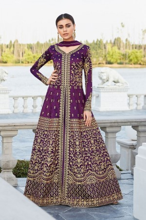 Purple Mulberry silk Salwar Kameez