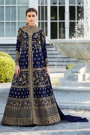 Blue Mulberry silk Salwar Kameez