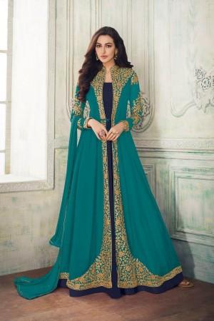 Rama & Navy Blue Georgette Salwar Kameez