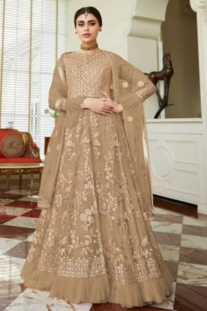 Light Brown Net Salwar Kameez