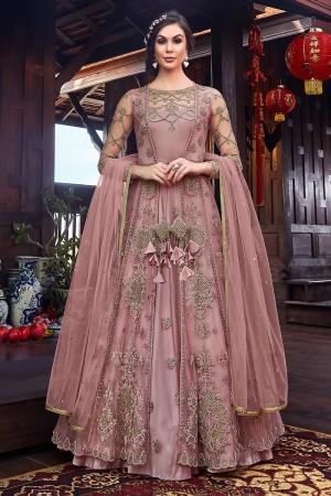 Dusty Pink Premium Net Salwar Kameez