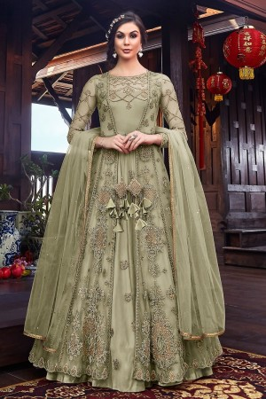 Light Green Premium Net Salwar Kameez