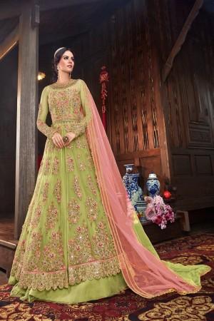Parrot Green Butterfly Net Salwar Kameez