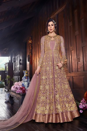 Light Purple Butterfly Net Salwar Kameez