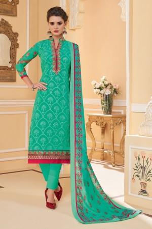 Turquoise Faux Georgette Salwar Kameez