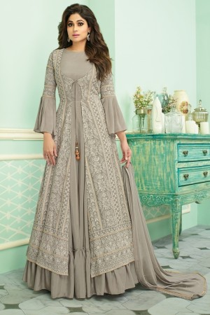 Light Grey Real Georgette Salwar Kameez