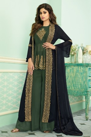 Navy Blue & Light Green Real Georgette Salwar Kameez