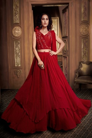 Red Fancy Fabric Lehenga Choli