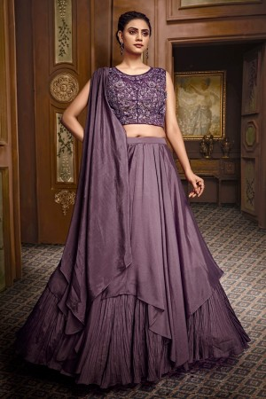 Purple Fancy Fabric Lehenga Choli