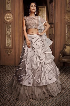 Light Grey Satin & Net Lehenga Choli