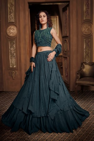 Dark teal Fancy Fabric Lehenga Choli