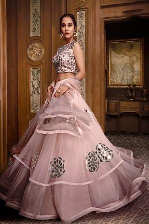 Baby Pink Net Lehenga Choli