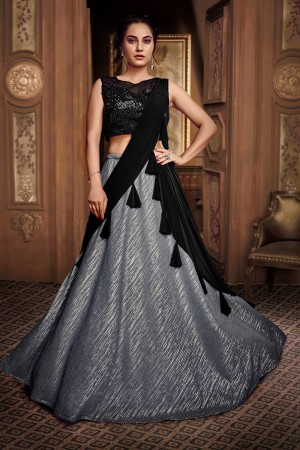 Grey Fancy Fabric Lehenga Choli