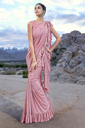 Baby Pink Fancy Fabric Saree with Blouse