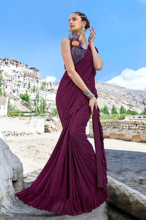 Wine Fancy Fabric Saree with Blouse