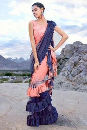 Peach & Blue Fancy Fabric Saree with Blouse