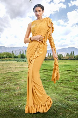 Yellow Fancy Fabric Saree with Blouse